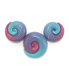 Elegant big gradient spiral beads, polymer Clay unique beads with stripes in turquoise, purple and pink, set of 3. $13.00, via Etsy.