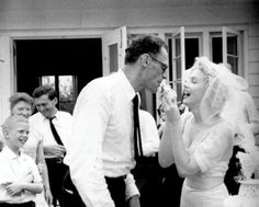 Marilyn Monroe weds playwright Arthur Miller on June 29, 1956.