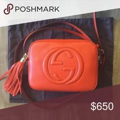 Red Gucci cross body bag - It's in great condition!Cute  Gucci cross body .Use my invitation link and get 100 Haute-Points to trade for any Tier1 fashion item! http://www.hautetrader.com/invite/Njk4 Gucci Bags Crossbody Bags