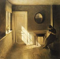 Girl Reading a Letter in an Interior (1908). Peter Vilhelm Ilsted (Danish, 1861-1933). Oil on canvas. The girl, eager to read, seeks out nat...
