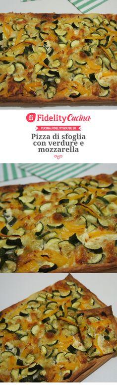 Pizza di sfoglia con verdure e mozzarella