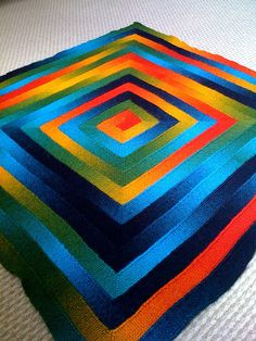 """Greek Key Knitted Blanket - great use of the colors.  All I can say to this one is....""""Wow!"""""""