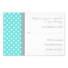 Grey Teal Mint Pattern RSVP Wedding Card