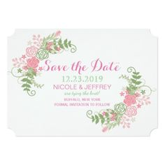 Pink & Teal Flower Floral Wedding Save the Date Card - spring gifts beautiful diy spring time new year