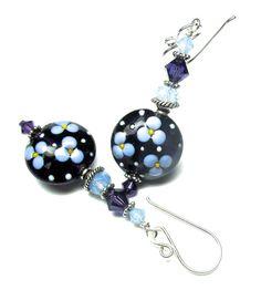 Purple Earrings Floral Earrings Lampwork Earrings by SeeMyJewelry