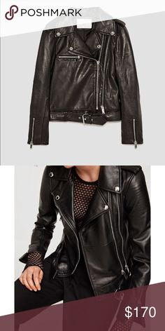 Zara lambskin leather biker jacket ✨best leather jacket i ever had- great longer fit , belt, double zip and the most softest lambskin leather! Only selling because i got another one.. everywhere sold out- in new condition!! ✨ Zara Jackets & Coats