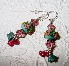 Athena's Garden Lampwork Dangle Earrings with by judesjujus, $40.00