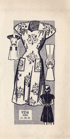 1940s Misses Dress Vintage Sewing Pattern, Marian Martin 9216 bust 34""