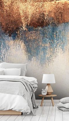 Give your small bedroom a beautiful design and make it feel larger with this abstract wallpaper from Wallsauce. With design towards the top of the wallpaper, leave space for the furniture below so that the room isn't overwhelmed. For this wallpaper and more bedroom ideas, head to Wallsauce...