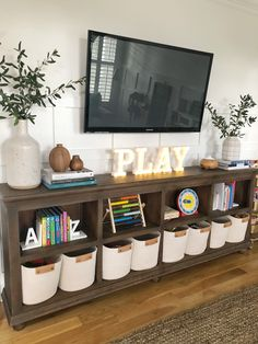 One Room Challenge & The Big Reveal & The Coastal Oak Source by dandreevnab The post One Room Challenge Family Room Playroom, Loft Playroom, Playroom Design, Playroom Wall Decor, Family Room Walls, Toddler Playroom, Game Room Decor, Room Setup, Toddler Boys