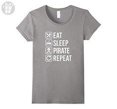 Women's Pirate Eat Sleep Repeat T-Shirt Small Slate (*Amazon Partner-Link)