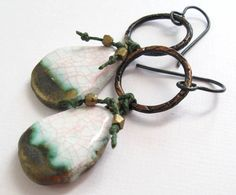 Gorgeous colour combos Pink Crackle Earrings Icy Porcelain bronze clay by LindAnnaJewelry, $32.00