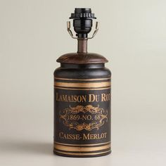Black French Canister Accent Lamp | World Market