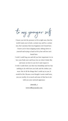 Have you ever written a letter to your younger self? I encourage you to sit down and write it out. Say the things you wish someone said to her give her closure she never found. To my younger self a letter from me to you. Self Healing Quotes, Self Love Quotes, Change Quotes, Quotes To Live By, Being A Mom Quotes, New Mom Quotes, Hard Day Quotes, Ispirational Quotes, Words Quotes
