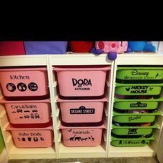 Ikea bins I labeled with vinyl using Silhouette Cameo. Makes me want to label everything!