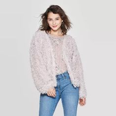 Women's Long Sleeve Feather Yarn Open Faux Fur Jacket - Xhilaration™ Mauve : Target