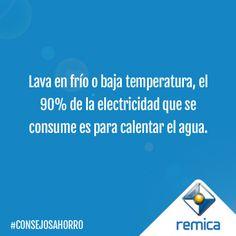Lava en frío o baja temperatura, el 50% de la electricidad que se consume es para calentar el agua. #ConsejosAhorro