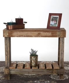 Natural Barnwood Sofa Table...#zulilyfinds.... Putting it on my list of things to make asap!