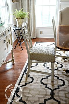 5 RULES FOR CHOOSING THE PERFECT DINING ROOM RUG-choosing the right size rug-stonegableblog.com