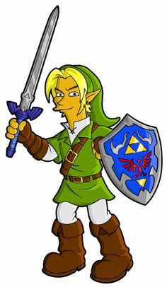 "Link from ""Legend of Zelda,"" drawn Simpsons-style"