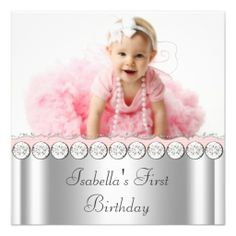 Pink White Baby Girl Photo First Birthday Party Invitations