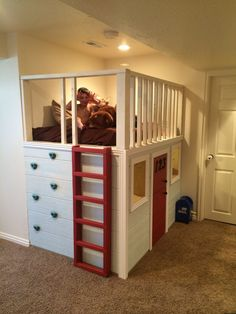 Note the addition of rock climbing holds! Kids Indoor Playhouse, Build A Playhouse, Indoor Playground, Playhouse Ideas, Rock Climbing Holds, Childcare Rooms, Kids Play Spaces, Room Setup, House Beds