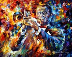 Leonid Afremov Louis Armstrong oil painting reproductions for sale