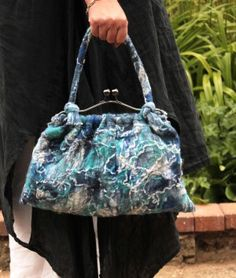 Blue handbag purse – Hand nuno felted linen and wool in blue white turquoise navy …OOAK Art to Wear