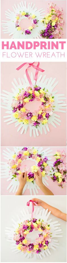 Handprint Flower Wreath. Pretty handmade gift kids can make for Mother's Day or as a special keepsake or spring craft.