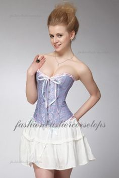 Superior Quality Sexy White Mini Ruffle Skirts Blue Corset Bustier Tops Dress [A819] - $43.00 : Fashion Bustier Corset Tops Dress Sale, Up 50% Off