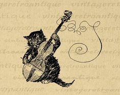 Antique Kitten Cat Playing Violin Artwork Music Wall Art Vintage Print with Antique Aged Paper Style Background Inches) Images Vintage, Vintage Cat, Vintage Music, Vintage Art Prints, Vintage Artwork, Antique Illustration, Digital Illustration, Violin Art, Cello