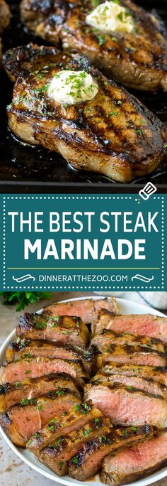 Quick and easy steak marinade recipe loaded with garlic flavor! This Garlic Steak Marinade will give your steak prepared on your grill or stove top a ton of garlic flavor plus it will be juicy and tender! Steak Marinade For Grilling, Steak Marinade Recipes, Grilled Steak Recipes, Marinated Steak, How To Grill Steak, Grilling Recipes, How To Marinate Steak, Grill Pan, Meat Marinade