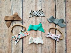 """Itty Bitty 5/8"""" mini twill bows single loop tied headbands nylon 