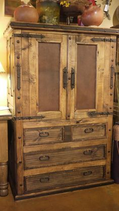 Old Door Leather In-lay Armoire by The Rustic Gallery of San Antonio, TX #armoire #furniture #rustic