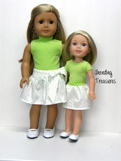 18 inch doll clothes AG doll clothes Girl doll clothes lime green turtleneck and white w/green pin dots party skirt