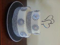 Silver themed wedding cake