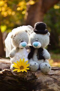 Etsy の Crochet Pattern wedding Teddy Bears by magicfilament