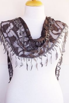 Gray Stylish Scarf With Fringed Lace by mediterraneanlights, $15.90