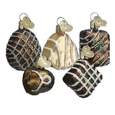 """Assorted Chocolates Christmas Ornament Set of 6 (one each of chocolate pictured plus another of whatever is available) 36051 1 1/2"""" to 1 3/4"""" Merck Family's Old World Christmas (Though"""