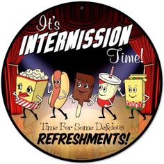 Vintage-Retro-Home-Theater-Movie-Intermission-Metal-Sign-Unique-Wall-Decor-RPC