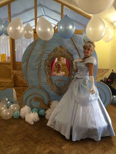 Cinderella party, Cinderella carriage, photo booth. My daughters party. Hand made cardboard carriage.