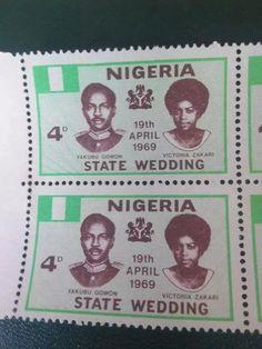 Postage Stamp Commemorating Yakubu Gowon's Wedding as Nigeria's Military Ruler.