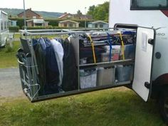 Custom slide out storage under a class a.