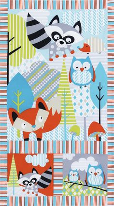 "Timeless Treasures Woodlot Panel 24"" Owl Multi from @fabricdotcom  From Timeless Treasures, this cotton print panel is perfect for quilting, apparel and home decor accents. Colors include grey, coral, blue, green, and black. Panel measures 23'' x 44''."