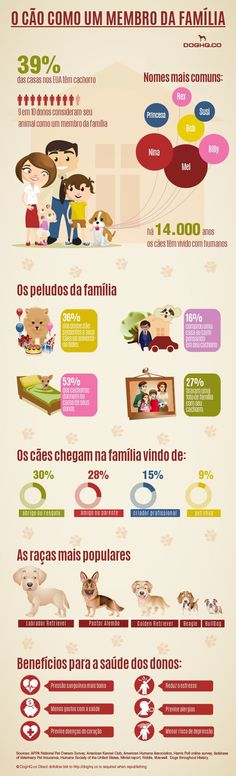 """Dog as a family member"" infographic. It contains interesting facts and stats including: how many dog owners consider their pet a family member top dog names where from dog comes to a family most popular dog breeds and many other interesting facts I Love Dogs, Puppy Love, Cute Dogs, Akita, Top Dog Names, Game Mode, Amor Animal, Pitbulls, Beagles"