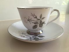 Yamato Fine China duos cup and saucer rose decoration - white & pink with silver grey leaves pattern number 4169