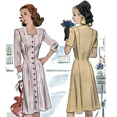 McCall 5929 Vintage 40s Junior Miss Dress Sewing Pattern - uncut - Size 10 - Bust 28