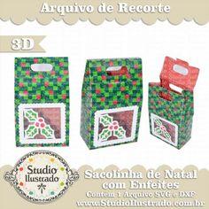 Sacolinha de Natal com Enfeites, Christmas Bag Ornaments, Presente, Gift, Natal, Feliz Natal, Doce, Tag, Silhouette, Merry Christmas, Christmas, Bag, 3d, 3d Model, 3d Project, 3d Design, Sacola, Sacolinha, 3d, Modelo 3d, Projeto 3d, Proyecto 3d, Diseño 3d, Cuadro, Modelo 3d, Diseño 3d, SVG, DXF, PNG
