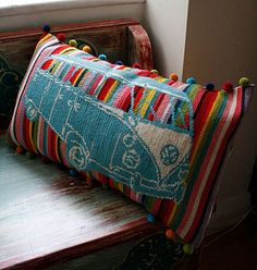 Fantastic Kombi Cross Stitch Cushion - LOVE!