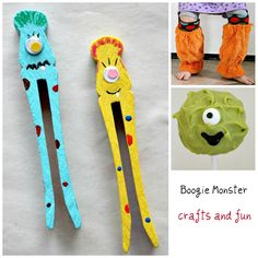 Boogie Monster writing spacers to help kids put spaces between their words. Craft Activities For Kids, Writing Activities, Diy Crafts For Kids, Craft Ideas, Boogie Monster, Summer School Themes, Monster Crafts, Monster Inc Party, Kindergarten Rocks